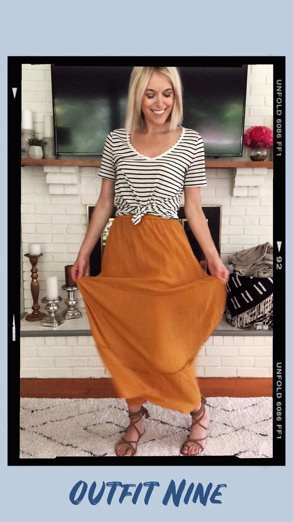 Summer capsule wardrobe outfit idea, striped t-shirt, yellow maxi skirt,  lace-up sandals, wardrobe stylist and fashion blogger