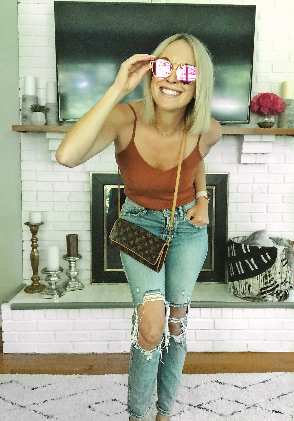Nordstrom BP bodysuit, summer outfit, womens weekend style, pink sunglasses, ripped jeans, fashion blogger, summer trends
