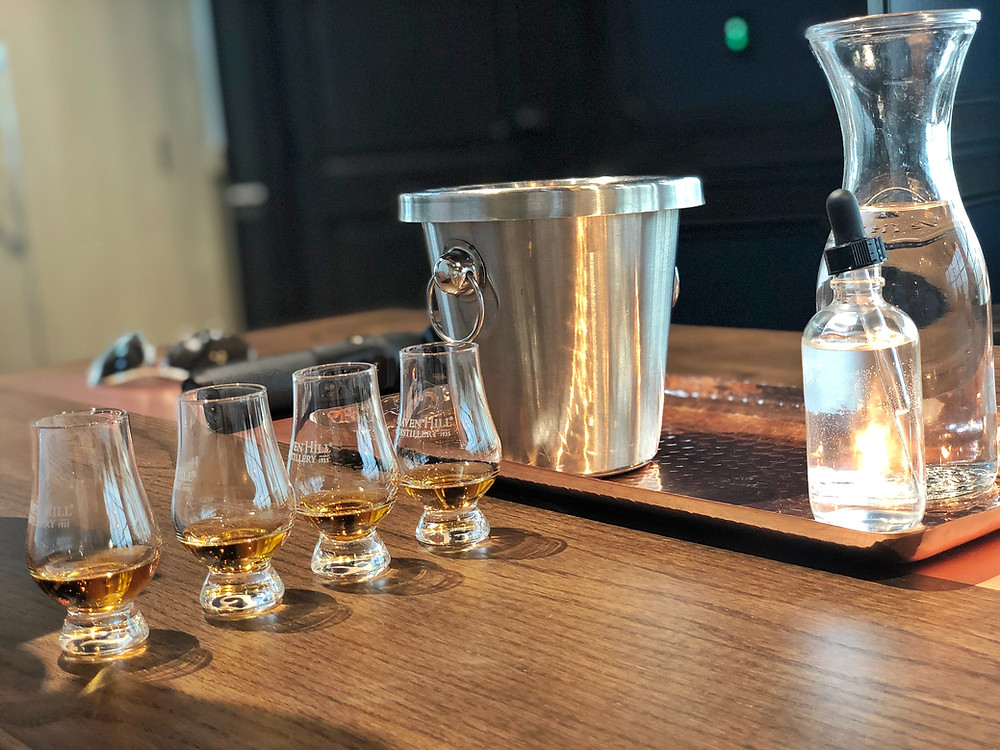 Tasting glasses and set up for Heaven Hill Connoisseur tasting experience, Bourbon Trail travel guide, travel blog, best distillery tour