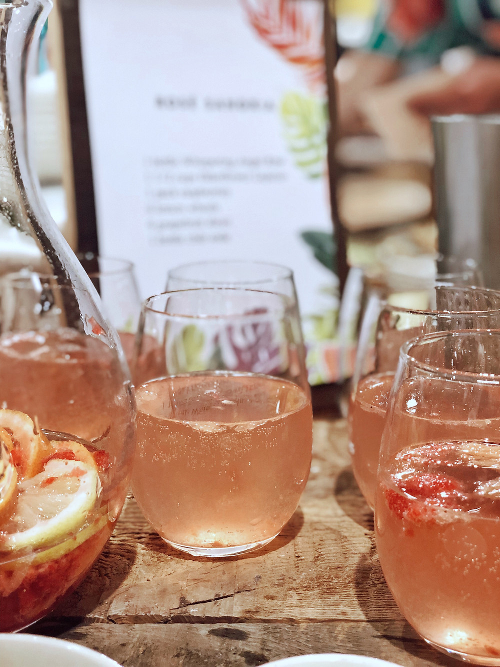 Rosé sangria at Anthropologie cocktail workshop in Asheville, NC