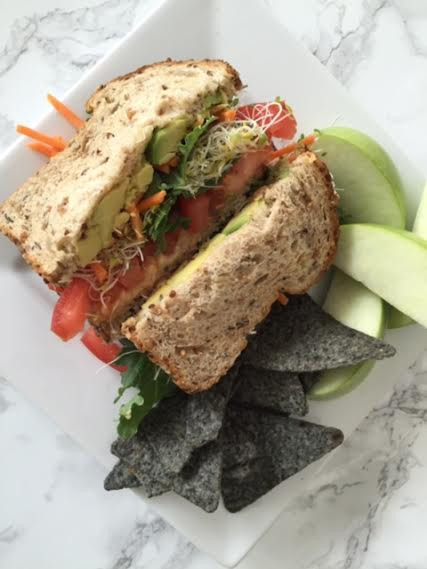 Veggie Sandwich, Chips, and Fruit