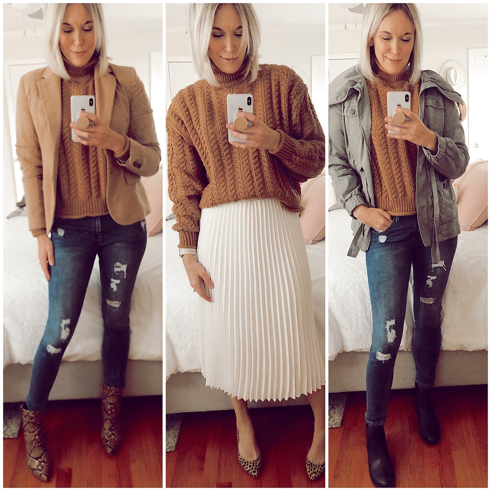 three ways to style H&M tan turtleneck sweater, blazer and jeans, pleated skirt, utility jacket, fashion blog, casual fall outfit ideas