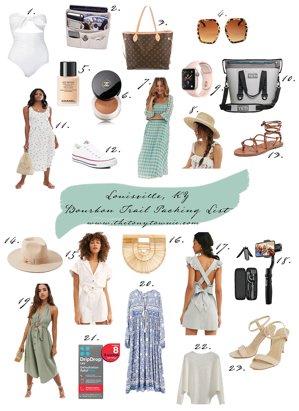 Women's packing list for summer trip to Louisville, Kentucky, and the Bourbon Trail. Southern-inspired dresses and rompers. Travel essentials for the stylish traveler.