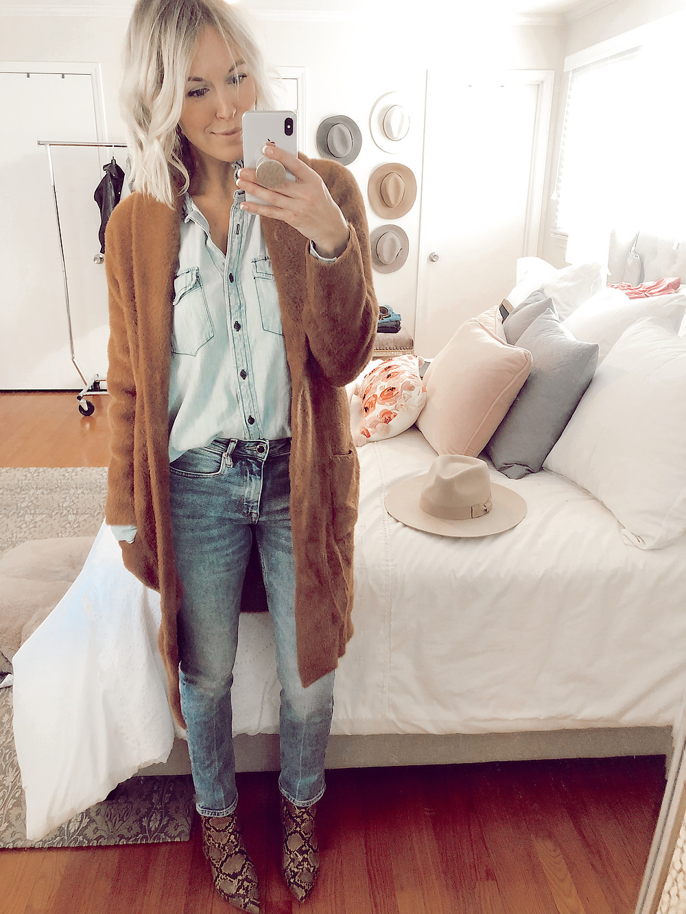 How to style snakeskin booties for fall, chambray shirt and jeans, canadian tuxedo, camel sweater coat, fall casual outfit ideas, style tips for women, fashion blog