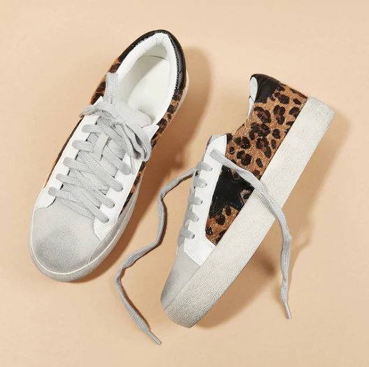 Leopard print lace-up sneakers, SheIn, Golden Goose lookalike sneakers