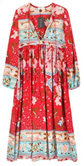 R. Vivimos red floral retro boho midi dress, summer dresses, Amazon fashion