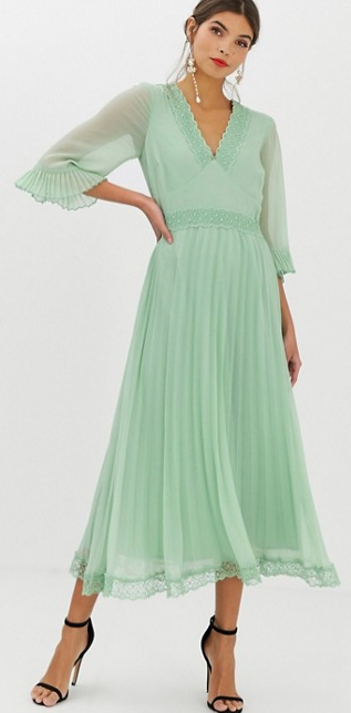 ASOS pleated midi dress, summer wedding guest dress, mint green tea dress