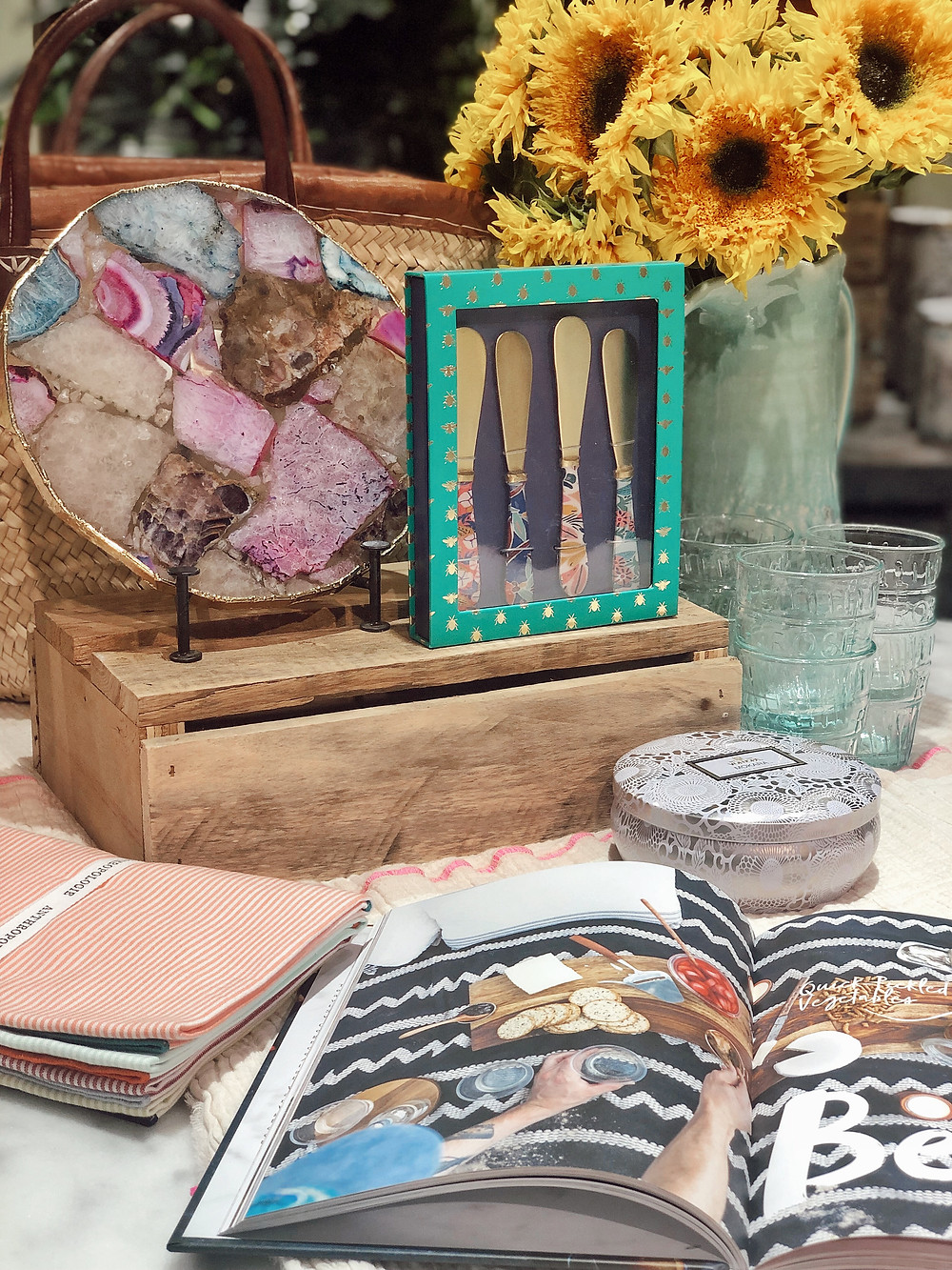 Summer entertaining essentials from Anthropologie, Agate platter, cheese knives, rosé hand-blown glasses