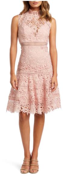 Nordstrom bardot lace dress, modest high neck pink cocktail dress, summer wedding guest dress