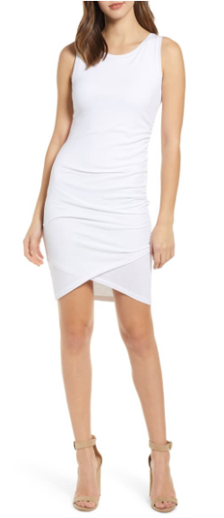 Nordstrom Leith white ruched tank dress