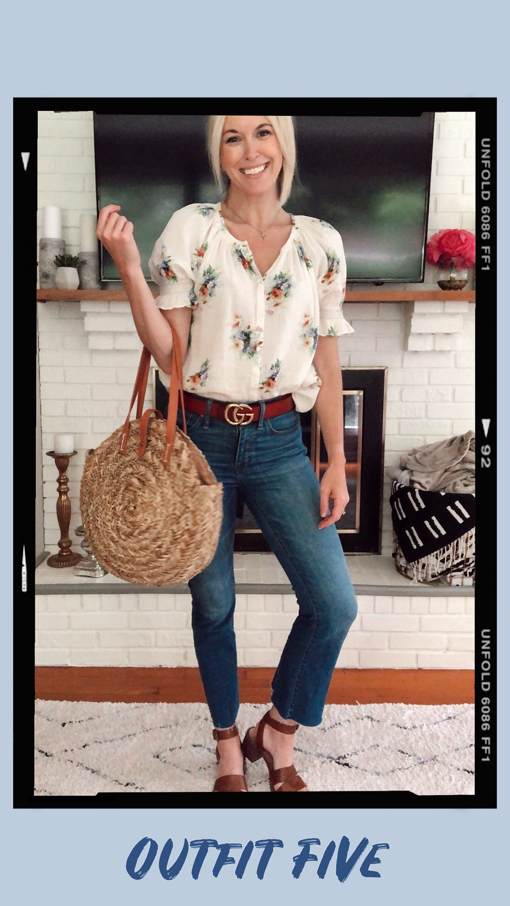 Summer capsule wardrobe outfit idea, Madewell floral smocked blouse, cropped flare jeans, Target round straw bag, GG designer dupe belt, Madewell Kate heeled sandals wardrobe stylist and fashion blogger