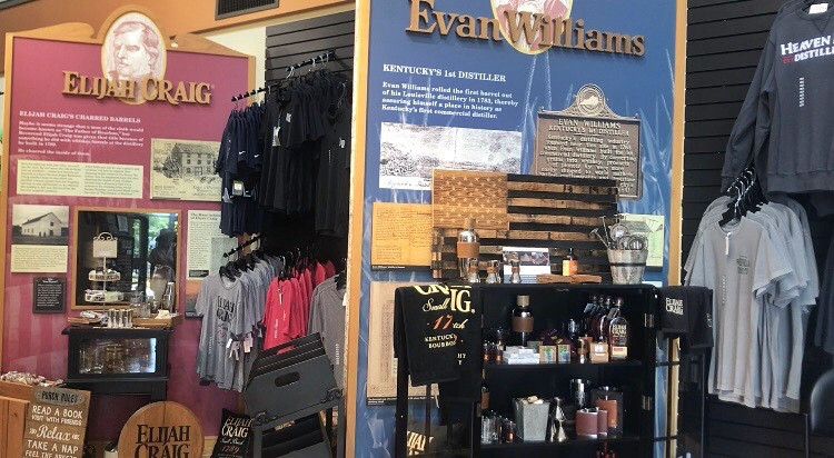 Elijah Craig and Evan Williams displays at Heaven Hill Bourbon Heritage Center, Bourbon Trail travel guide, travel blog, best distillery tour