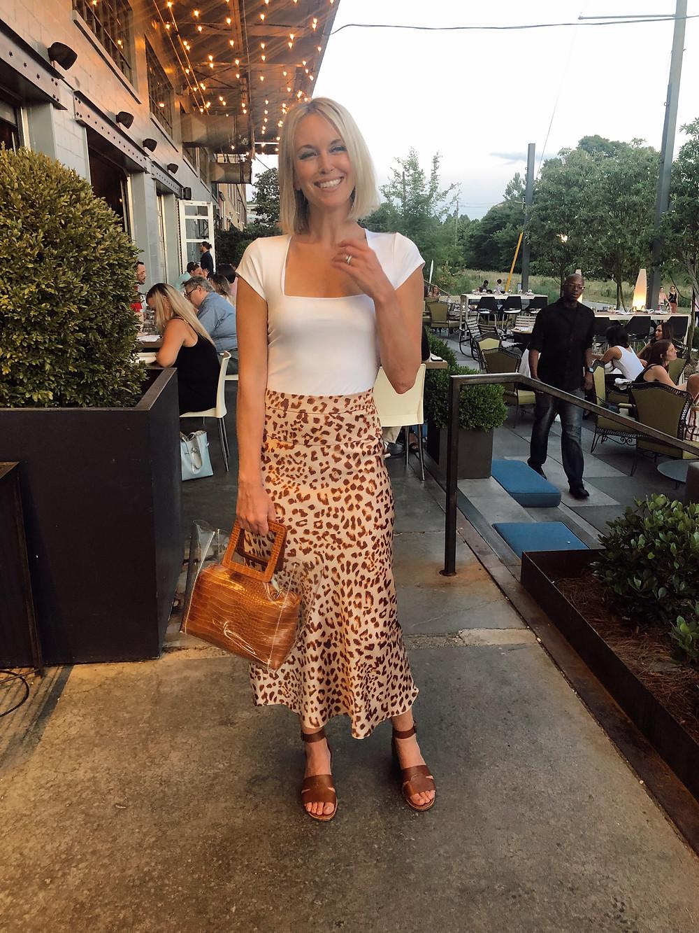 date night outfit, summer style, leopard midi skirt, free people bodysuit, pvc croc bag, atlanta two urban licks, fashion bloger style