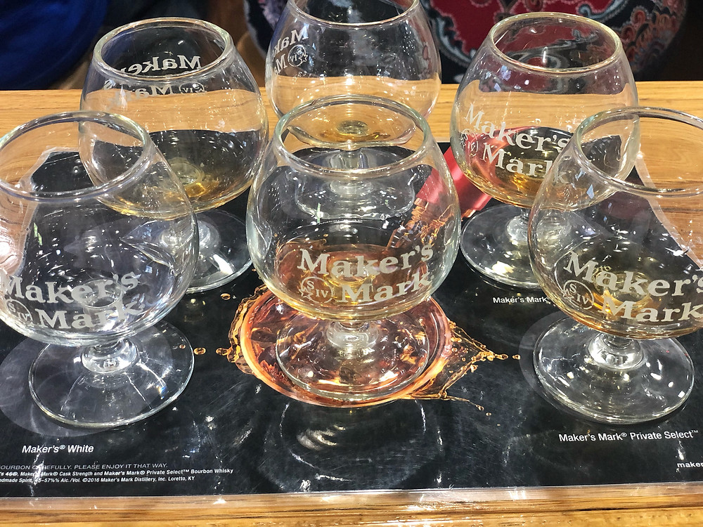 Flight of six bourbons at Maker's Mark tasting, How To Plan Trip to Bourbon Trail, Travel Guide