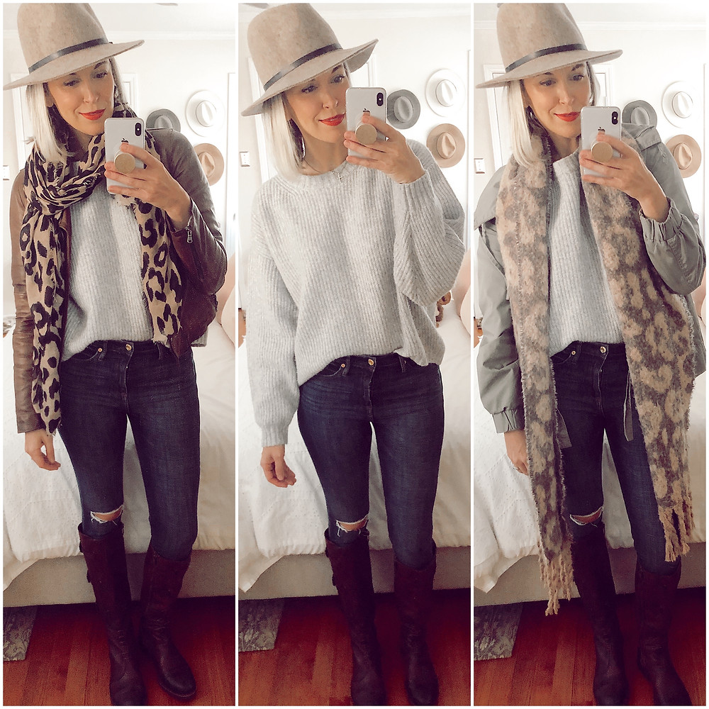 Three ways to wear H&M gray pullover sweater, leather jacket and leopard scarf, wide brim hat, utility jacket and riding boots, fashion blog, casual fall outfit ideas