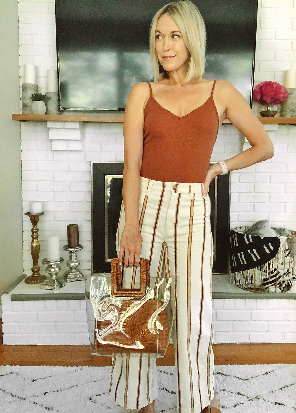 Nordstrom BP bodysuit, summer outfit, womens weekend style, Madewell striped Emmett pants, PVC croc handle bag, fashion blogger, summer trends