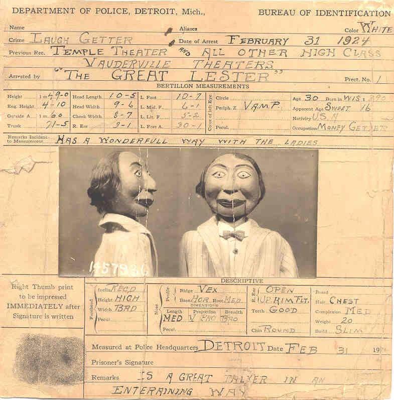 A fictional arrest record