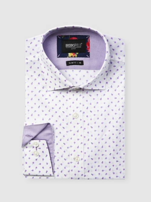 Brooksfield Scattered Flower Print Business Shirt