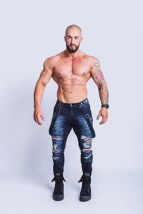 Tigerhorse Lachlan Dark Denim Tartan Slim Jean