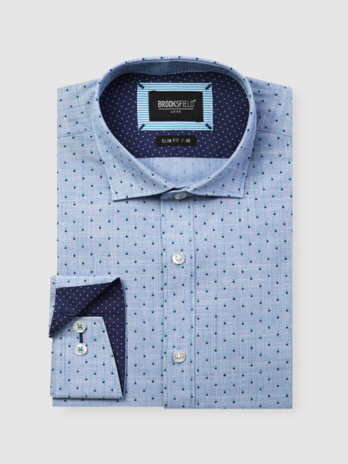 Brooksfield Luxe Flower Print Slub Business Shirt