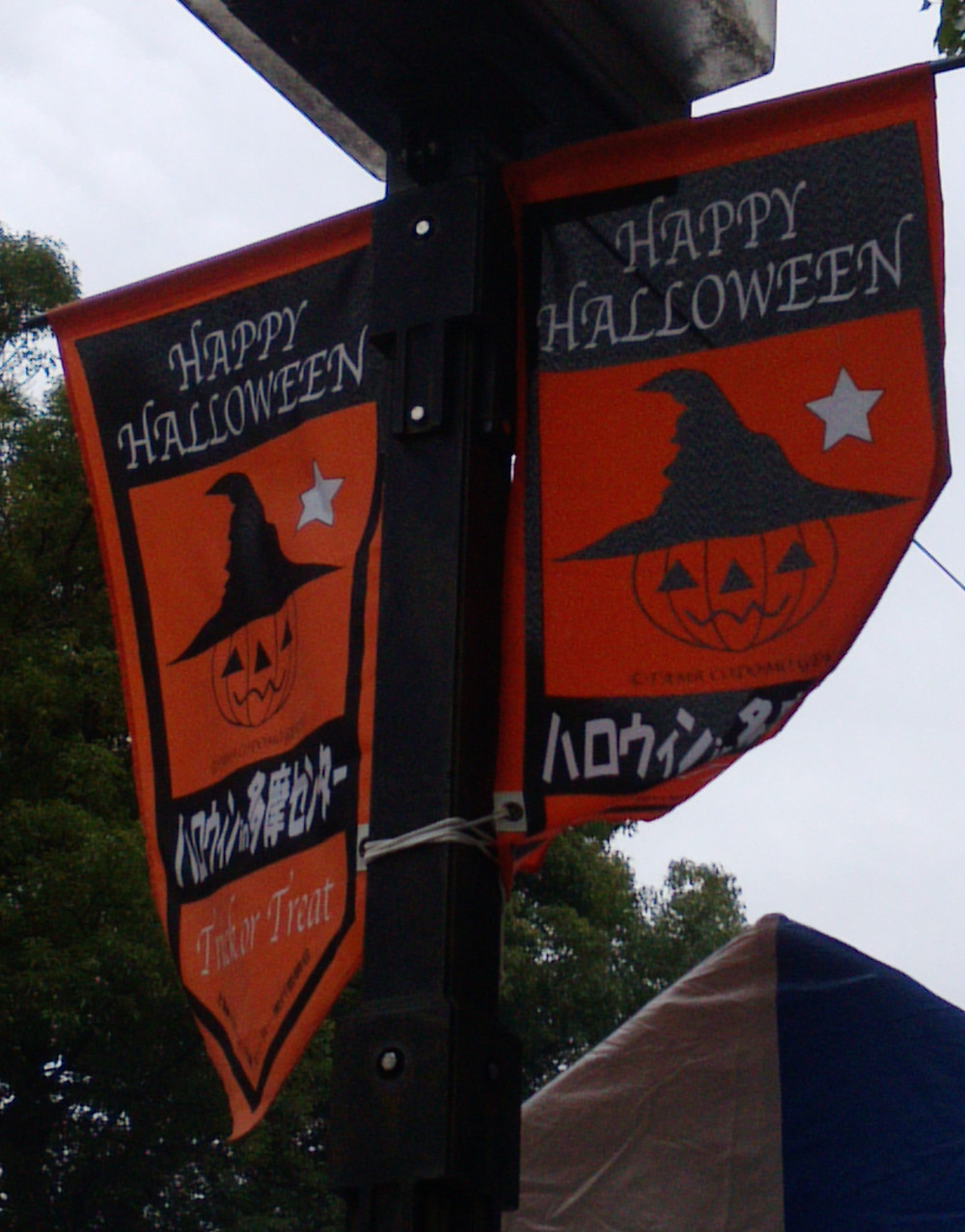 多摩市多摩センターの整体院身体均整堂からだやのハロウィンの旗