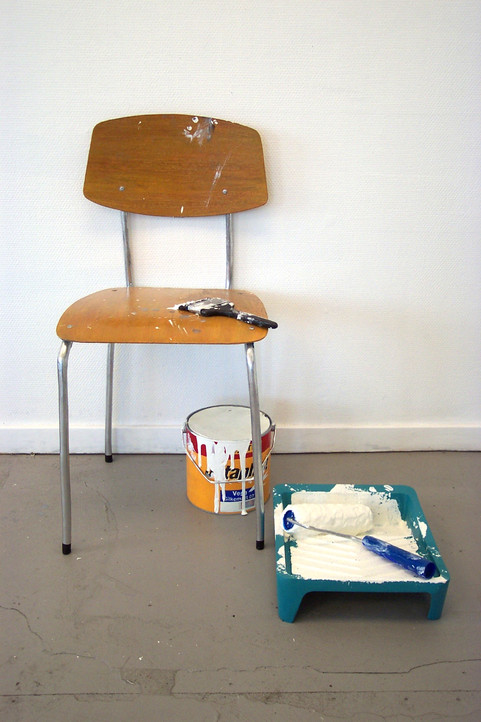 Chair with paint and brush