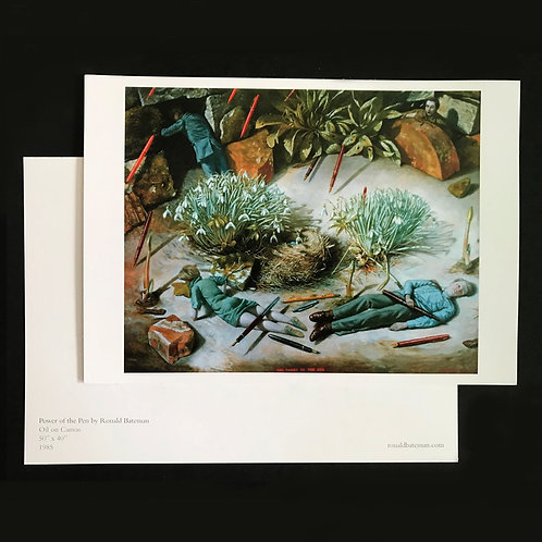 Fine Art large postcard print of 'The Power of the Pen' by Ronald Bateman. A5