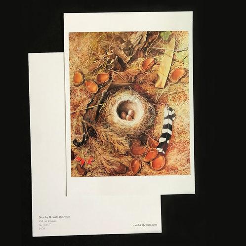 Fine Art large postcard print of 'Nest' Painting by Ronald Bateman. A5