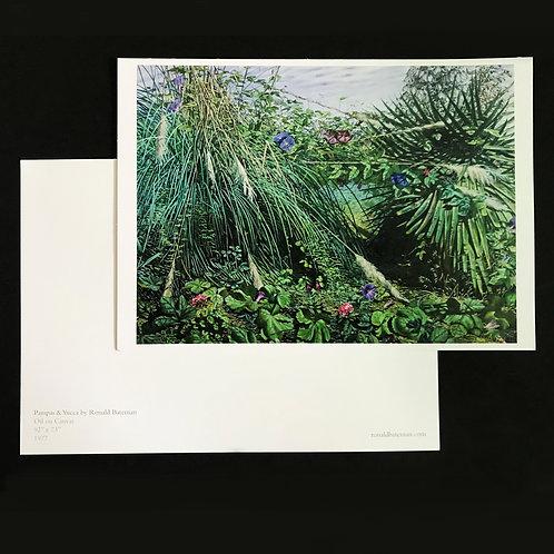 Fine Art large postcard print of 'Pampas & Yucca' Painting by Ronald Bateman. A5