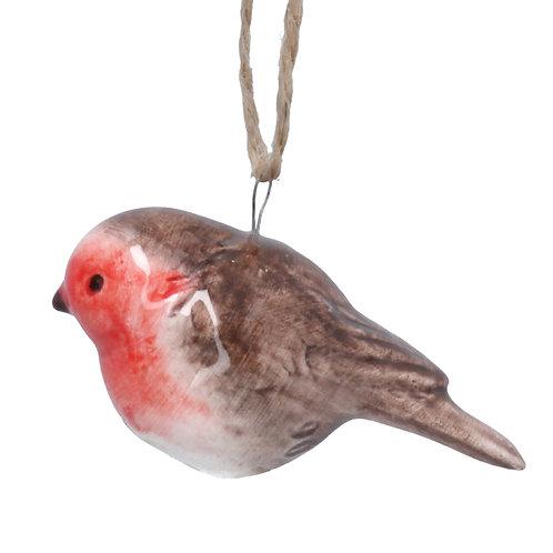 Ceramic Robin decoration on string hanger