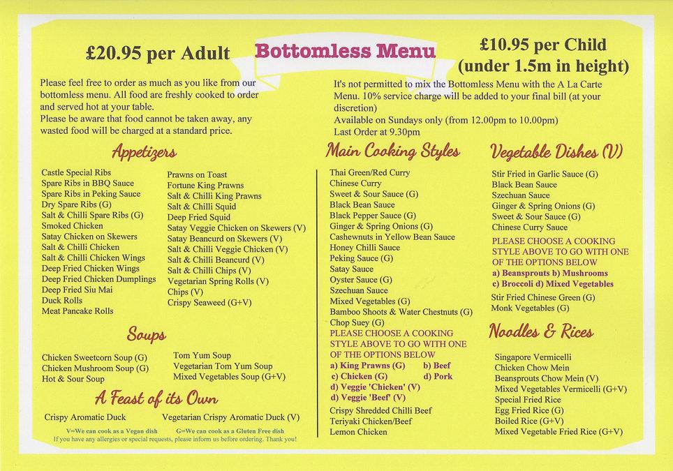 Cstle Chinese Bottomless menu