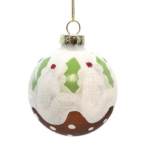 Glass Christmas Pudding Ball with hanger