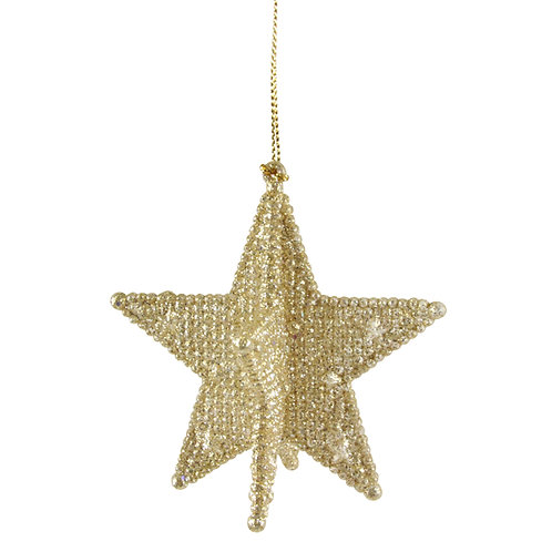 Pale Gold Glitter Acrylic 3-D 5-Point Star Decoration on a string