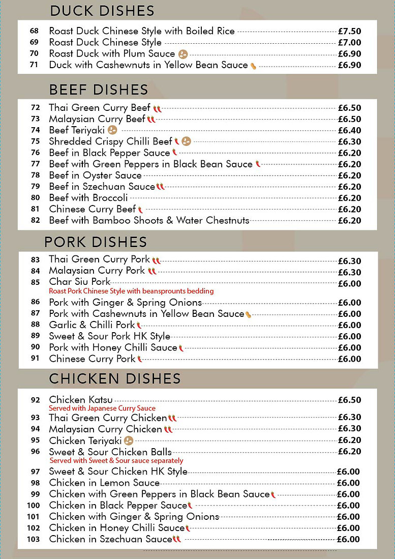 Castle Chinese Take-Away options