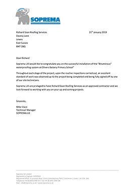 Soprema congratulat Richard Soan Roofing Services