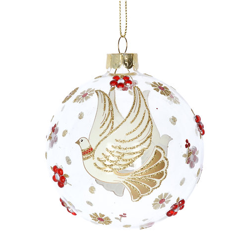 Clear Glass Ball with Red/Gold/Cream Dove/Flowers