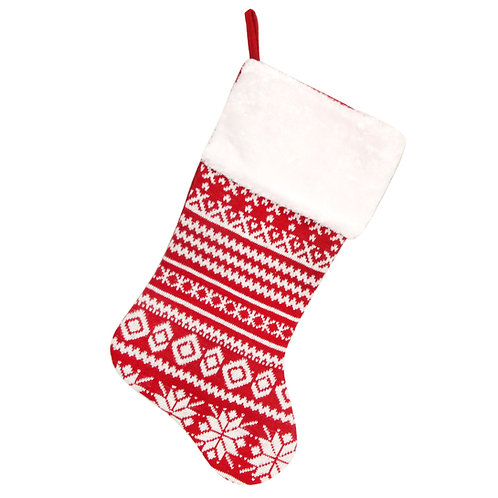 Red and White Knitted Stocking