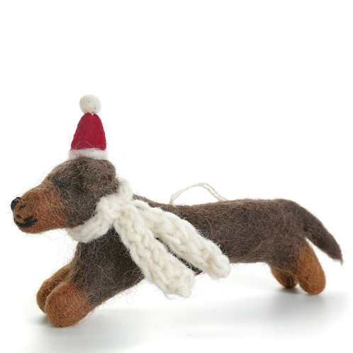 Sausage Dog with Hat & Scarf