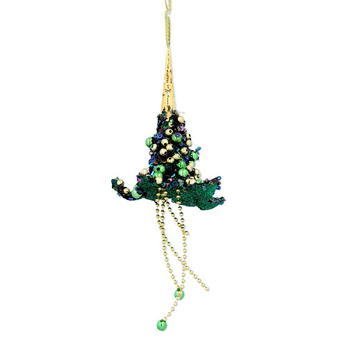 Peacock Acrylic Lotus Flower with sequins on a string hanger