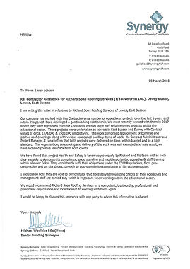 Testimonial for Richard Soan Roofing Servics from Synergy Construction and Property Consultants