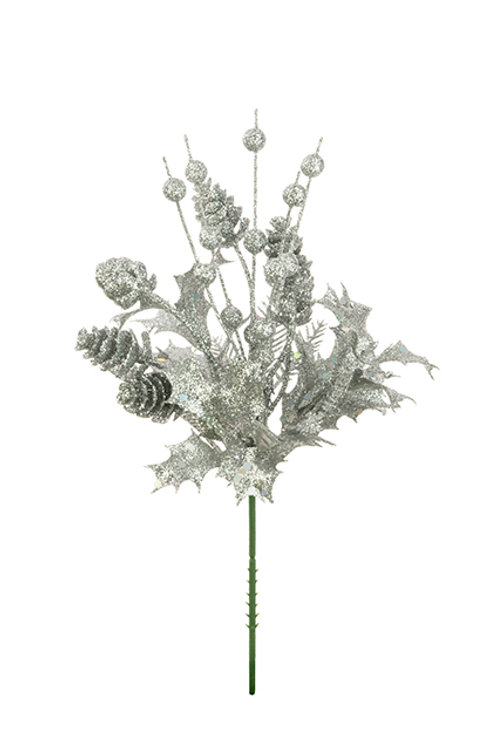 Silver pick with pinecones and holly leaves