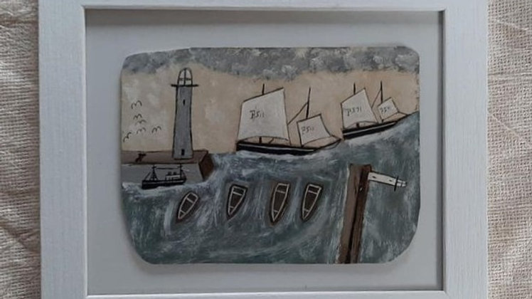 """""""The Moorings"""" an original Alfred Wallis style painting by Max Wildman"""