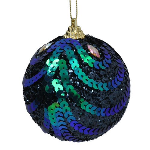 Glitter Peacock Ball with Sequin Swags