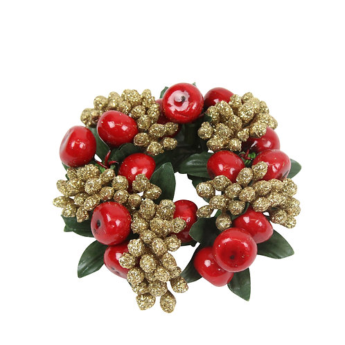 Red Shiny Berry and Gold Glitter Berry Candle Ring