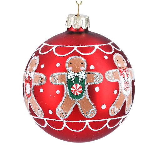 Gingerbread Men Glass Bauble at Sussex Christmas Barn