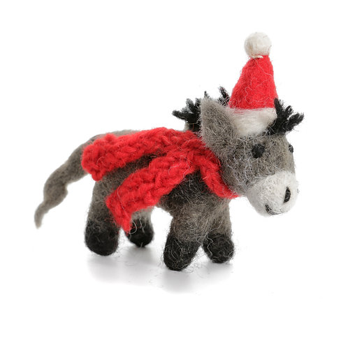 Mini Donkey with Hat & Scarf