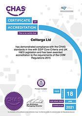 Celltarga CHAS Certificate 20/21
