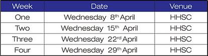 April HHSC Salsa timetable