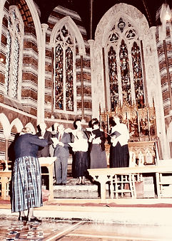 Ruth Gipps in All Saints Hospital Chapel c. 1985 conducting the Chalvington Singers