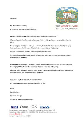 Testimonial for Richard Soan Roofing Servics from Martin Sewell Building Company